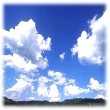 Clouds with faded frame