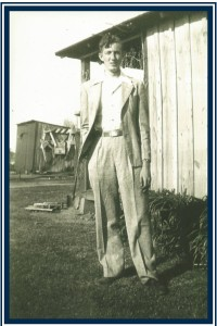 Harrell H. Bowman, Sr., at 18 years old, leaving Bowman, Arkansas, to serve his country in WWII, where he met my Mom. It was the first time he'd ever owned or worn a suit. He was so proud. He inspired me to write, to sing, to be the person I am. Everyone loved Harry Bowman. That is what everyone says ... still ... he's been in heaven for 15 years. We all miss him so very much.
