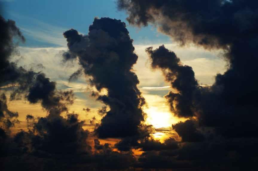 afterglow backlit clouds dark