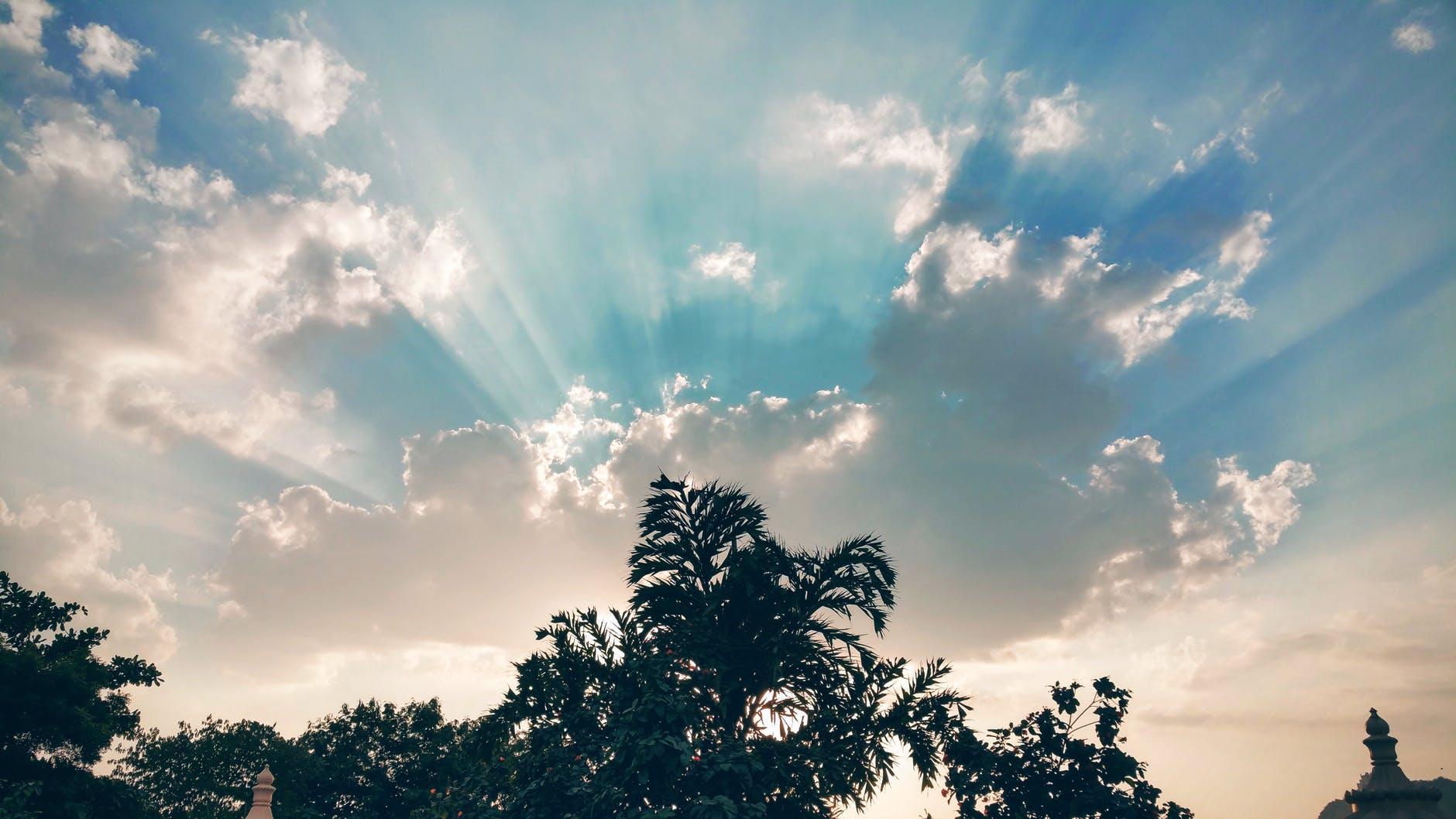blue sky bright clouds cloudy