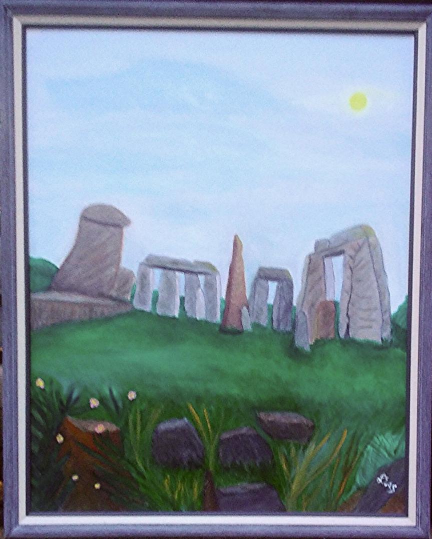 Deb's Stone Henge Painting, 2-16-18